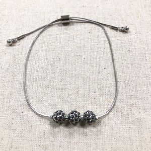Silver and black glitter ball anklet